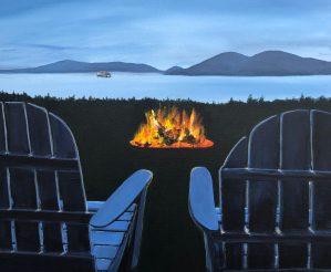 """Fireside in the San Juans"": 20″ x 20″ acrylic original"