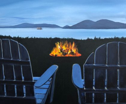 """Fireside in the San Juans"": 20″ x 20″ acrylic original"