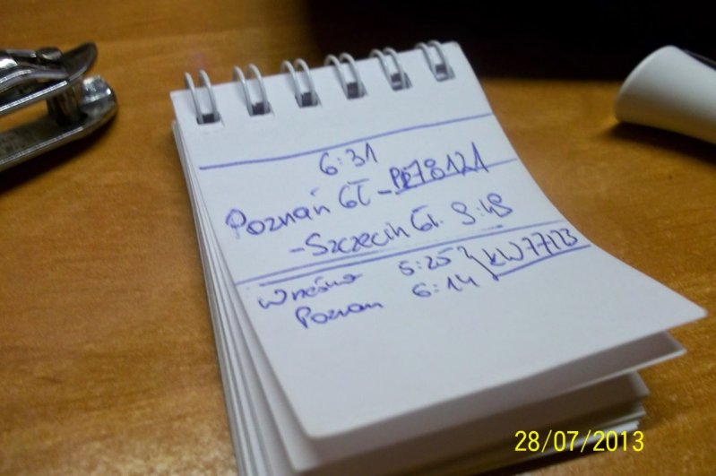Tak właśnie zapisywałem notatki zgodzinami wyjazdu