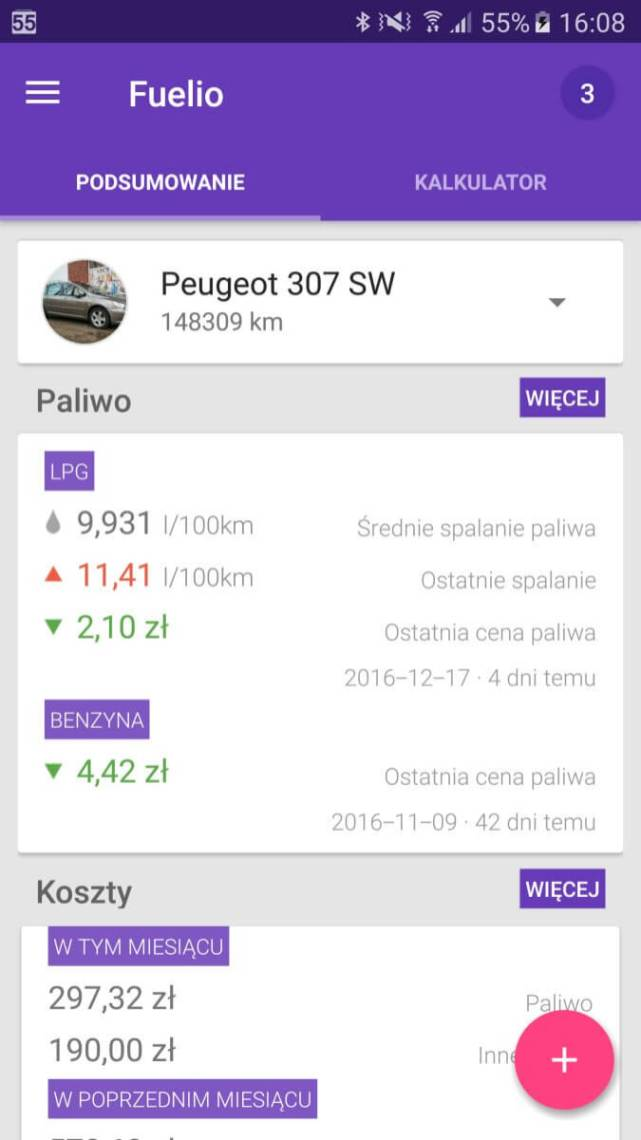Aplikacje android w2016 - Fuelio
