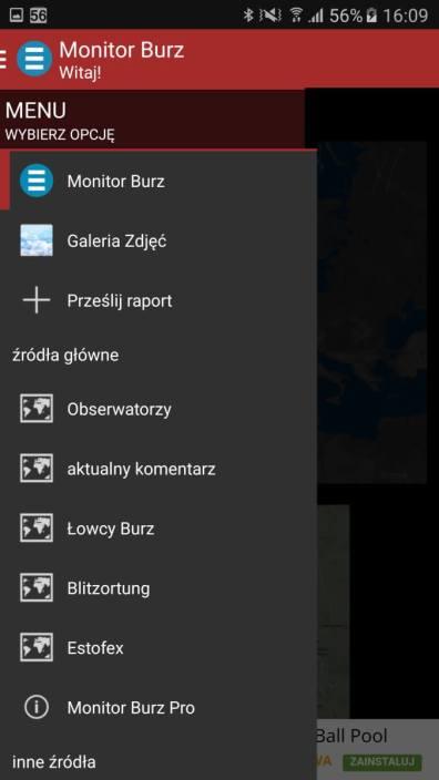 Aplikacje android w 2016 - Monitor burz