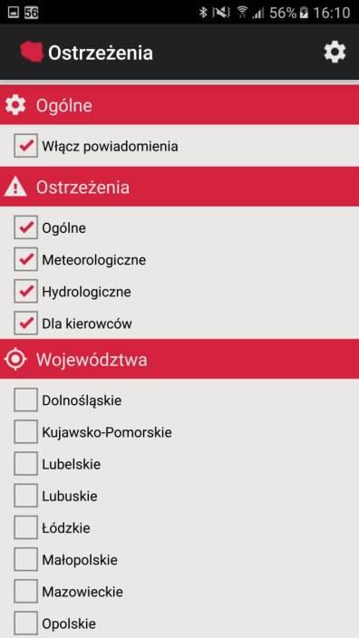 Aplikacje android w 2016 - RSO Ostrzeżenia ustawienia