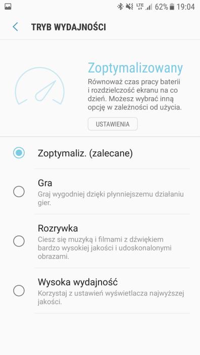 Samsung Galaxy S7 - ustawienia odnosnie wydajnosci
