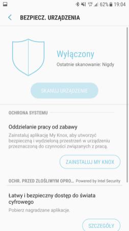 Samsung Galaxy S7 - manager bezpiecznstwa
