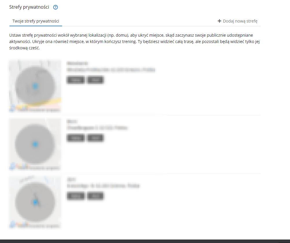 Garmin Connect - strefa prywatnosci