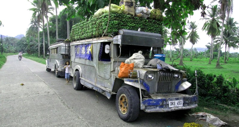 A Jeepney with Bananas Piled on top
