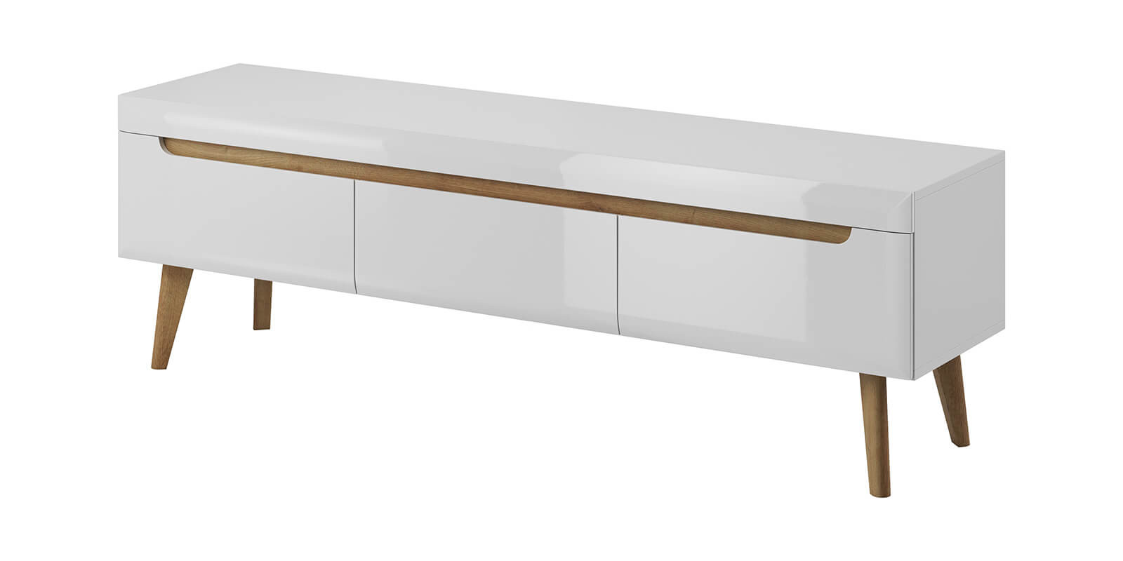 meuble tv nordi 160 blanc brillant et bois clair chene et blanc
