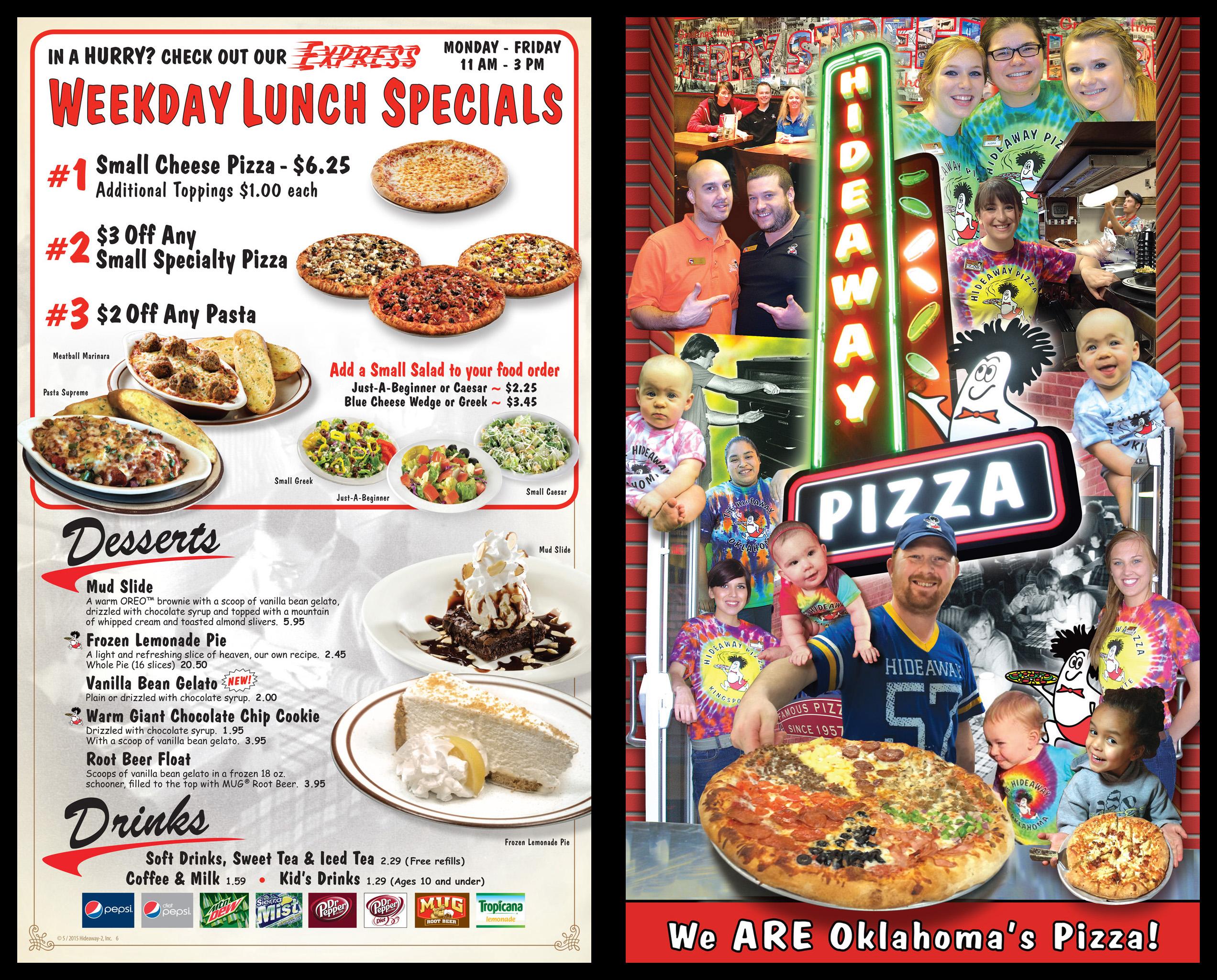Menu Design - Hideaway Pizza Tulsa OK