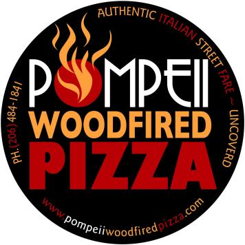 BRANDING / LOGO DESIGN - Pompeii Woodfired Pizza, Seattle WA. Logo Design and Branding by Bob Paltrow Design, Bellingham WA