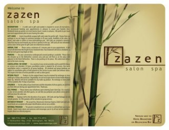 ZaZen Salon and Spa Menu of Services Cover - by Bob Paltrow Design, Bellingham WA