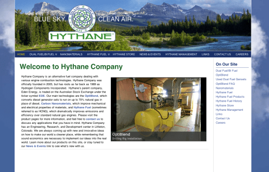 Bob Paltrow Web Design - Hythane Co - Natural Gas Apparatus - Bellingham WA 2