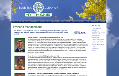 Promoting Clean Energy - Hythane Company; Natural Gas - Bob Paltrow Web Design Bellingham WA