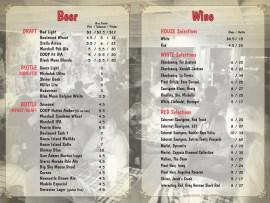Hideaway Pizza Bar Menu - Beer & Wine Spread - design by Bob Paltrow Design, Bellingham WA