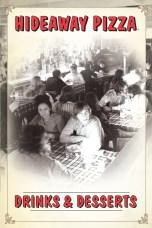 Hideaway Pizza Bar Menu Cover design by Bob Paltrow Design, Bellingham WA
