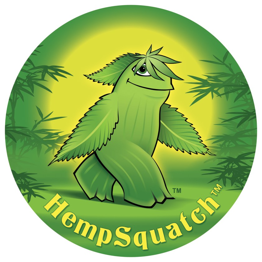 HempSquatch Round Sticker Design/Illustration by Bob Paltrow Design, Bellingham WA