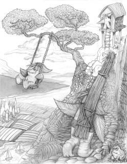Original pencil sketch for HempSquatch Origin Story