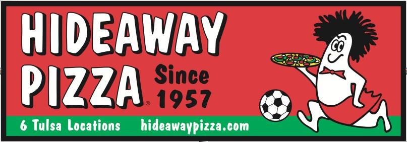 96 x 33 Inch Outdoor Vinyl Banner sponsoring The Tulsa Revolution Indoor Soccer Team. Banner design by Bob Paltrow.