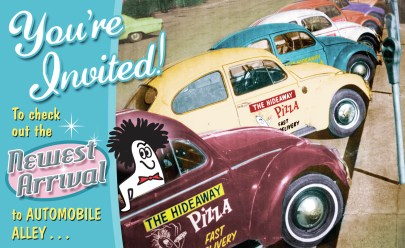 Postcard Invitation New Restaurant Opening for Hideaway Pizza @Auto Alley By Bob Paltrow Design, Bellingham WA