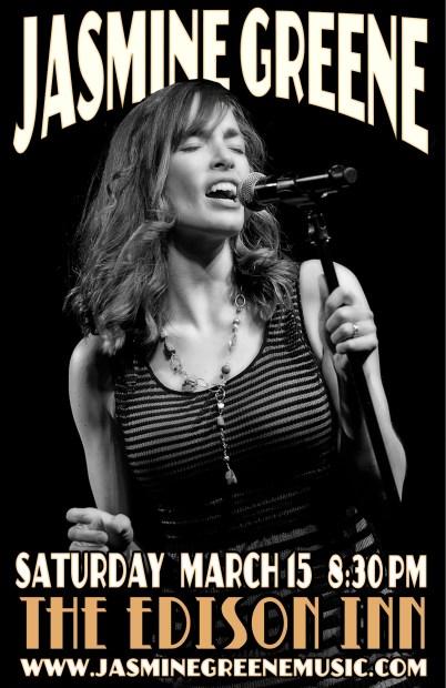 Poster: Jasmine Greene Band at The Edison Inn, Edison WA. Design by Bob Paltrow - Client: Jasmine Greene Band