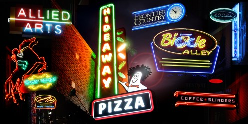 Neon Sign Photo Collage Triptych 2 of 3 by Bob Paltrow Design for Hideaway PIzza. Each panel is 4 ft. x 2 ft.