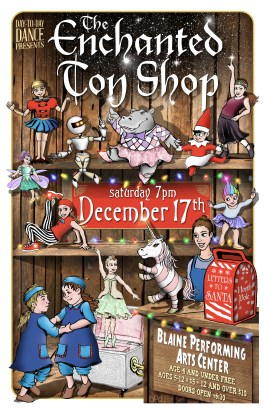 """""""The Enchanted Toy Shop"""" Poster design and childrens illustration by Bob Paltrow"""