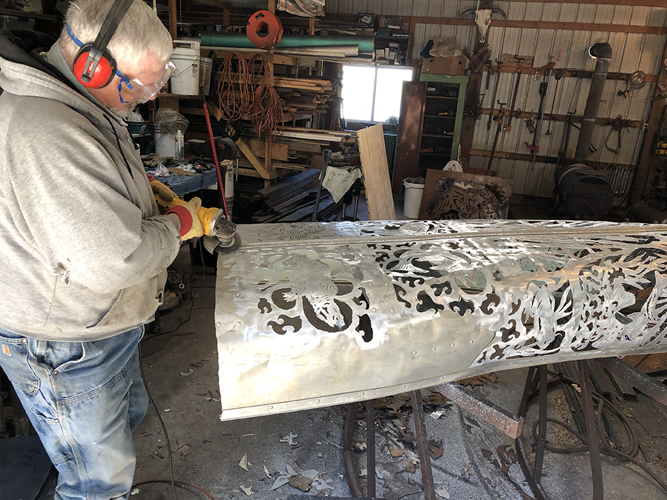 Bob Parker at Work in His Art Studio | Buffing Out a New Metal Art Piece