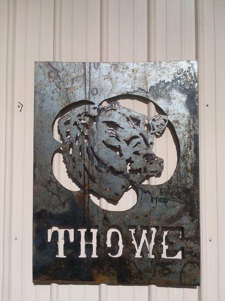 Metal Ranch Sign for Thowe