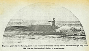 Competition Surf magazine, 1966.  Purvey winning the noseriding contest.