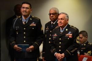 Vietnam War veterans and Medal of Honor recipients, (left to right) Spc4 Santiago Erevia, Staff Sgt. Melvin Morris, and Sgt. 1st Class Jose Rodela.