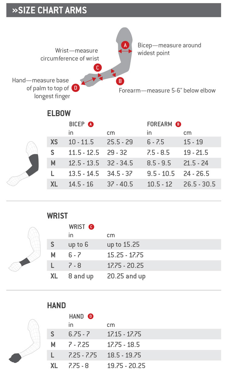 G-Form Size Chart Arms