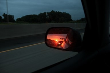 When you are driving east, the sunset is always behind you.