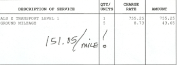 A portion of Jim Mathes' emergency transport bill.