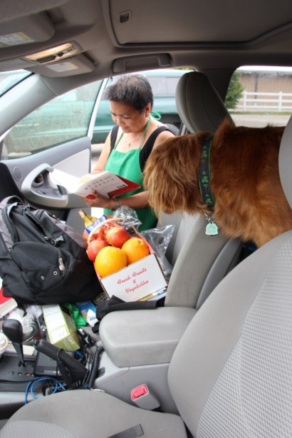 I traded a book for some fruit.  Merela eyes the words; Rusty thinks about stealing the fruit.