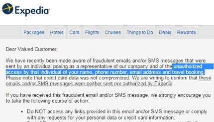 Expedia warns users about 'unauthorized access' of name, phone, email and booking info