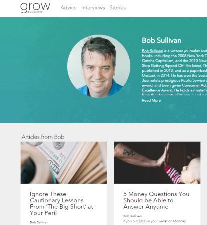 My contributor page at Grow.