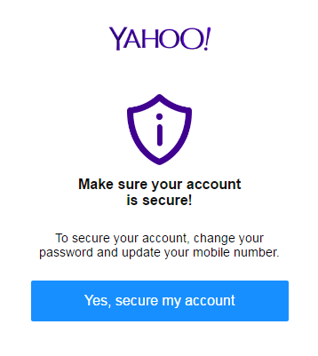 A warning message on Yahoo