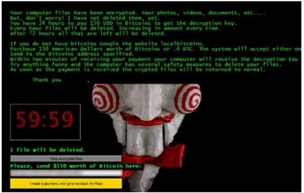 An ominious countdown clock on a machine infected with ransomware. (Courtesy: IBM)