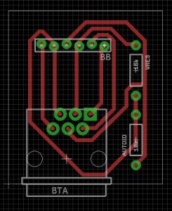 Layout of BTA breakout board designed using Eagle. Traces are a bit larger than normal since this is my first time attempting to fabricate a PCB. Components are from the sparkfun library.