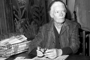 Dorothy Day head of Catholic Worker inside the worker officeat 175 Christie St. (Photo by Judd Mehlman/NY Daily News via Getty Images)