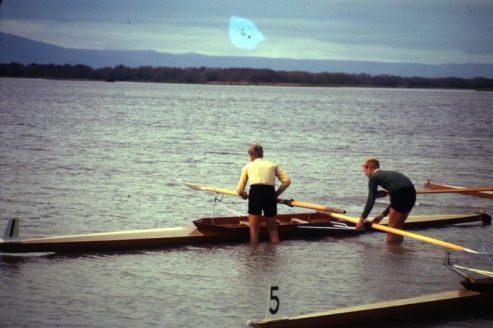 Stan Radford & John Spooner, National Championships, Waihola, 1964. Second Snr Pairs.
