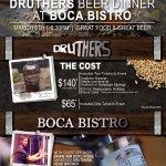 Druthers Beer Dinner at Boca Bistro