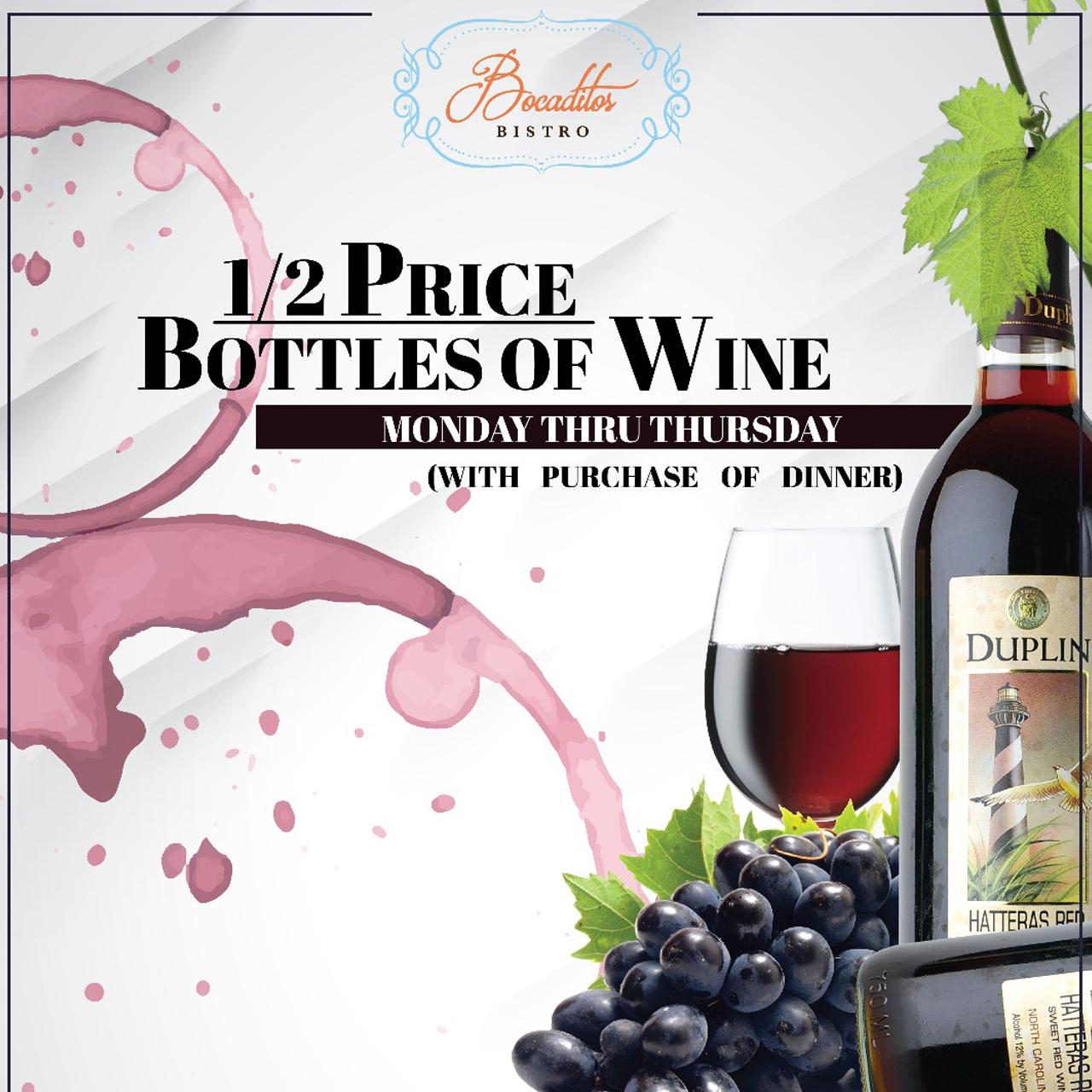 1/2 Price Bottles Wine