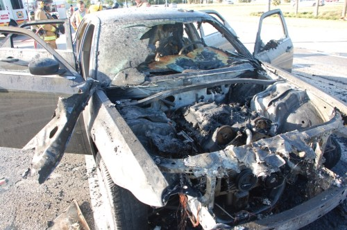 Chrysler 300 after fire in Boca Raton