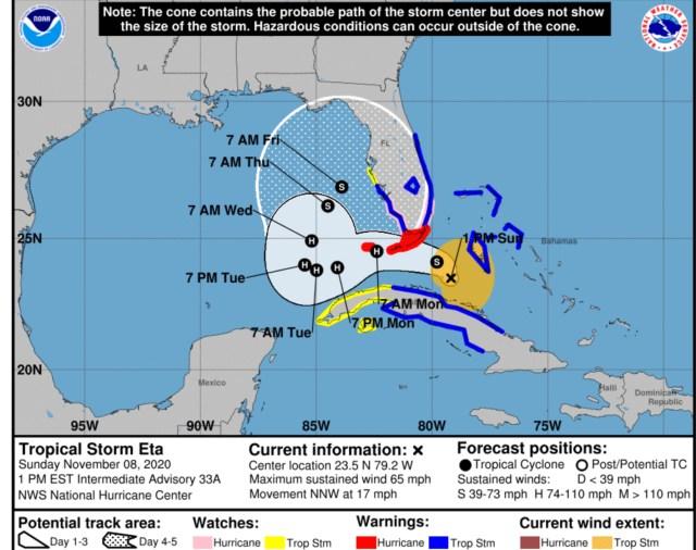 tropical storm eta 1pm sunday