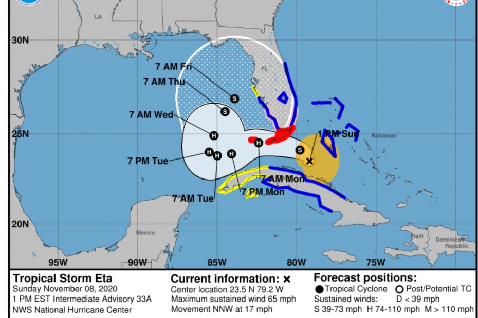 tropical storm eta 1pm sunday