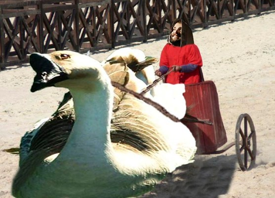 Holy Goose of Jesus in the Ben hur Chariot race, New unseen footage