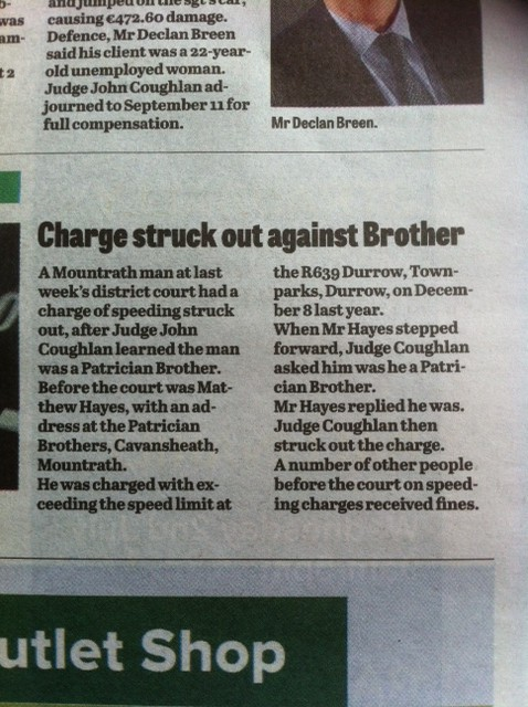 Patrician Brother speeding charge struck out