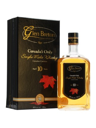 "On the Label: ""Rare Handcrafted Single Malt Whisky – Canadian/Canadien – Aged Years 10 Aus d'Age – (Maple Leaf)"""