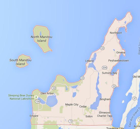 Map of Leelanau County