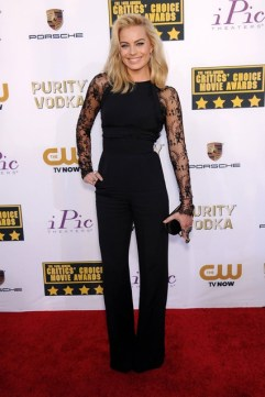 Margot Robbie wore a jumpsuit from Elie Saab and a Alexander McQueen clutch